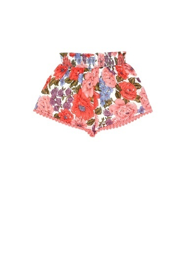 Zimmermann Zimmermann Colorblocked Çiçek Desenli Kız Çocuk Şort 101600363 Renkli